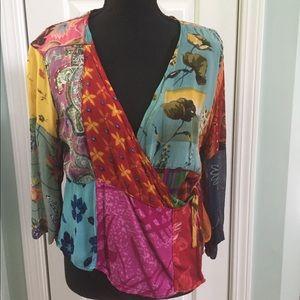 Vintage patchwork wrap blouse.